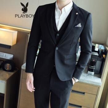 プレイボーイPLAYBOY春秋新品メンズスーツ英倫弾性ファブリック男性スーツ黒XL