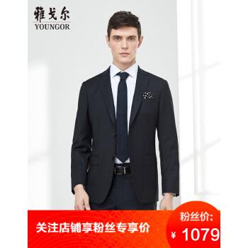 アコースティックyoungorスーツ男性純毛2019年春新品男性スーツ西私服ビジネス黒170/92 A