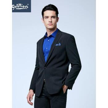 金利来男性修身立体サポートシンプルビジネススーツジャケット(FX)FQ 99-黒165/S