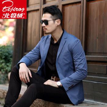 新商品の青年のスーツを少し詰めます。スーツの男性のおしゃれ薄年齢ビジネス中年単上着ジャケットは西服の浅青色175/Lです。