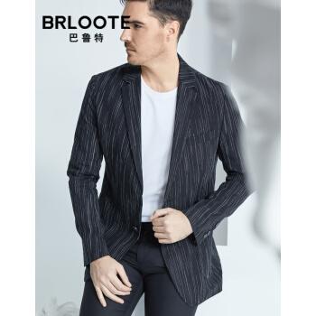 Brloote/巴鲁特軽豪华メーズ男性純亜麻便西ファッション縦縞スーツ軽薄修身シングルスーツ2019春服黒170/92 A