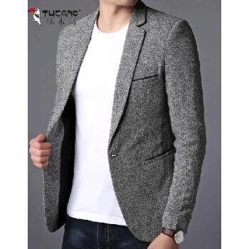 キツツキの格子のスーツの上着の男性は韓国式の薄いタイプの男性のスーツの上着の単品の2019春秋の新作の中で青年の小さいスーツの浅い灰色の170