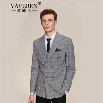 梵威倫ブランド2019春新品の格子ダブルボタンストライプスーツ男性修身ヴィンテージ男性スーツコート灰色L