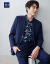 HLA海澜之家简单フラットカラースーツ2019春新品クラシックコート男HTXJ-1001 A紺青01/100 C