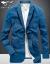 七匹のオカミスーツ男性春秋季新作メンズコートビジネス修身服ファッション小さいスーツ潮101コレクション青185/100 A/XL