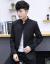 2019新品修身スタンドカラー中国風スーツ男性グレーL(110-120斤を推奨)