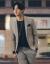 奈瑾2019春夏新品男性、シングルボタンの小さいスーツ2つセットのオーバー、アンズ色の2つセット50