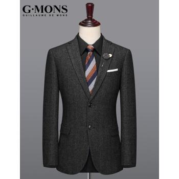 ジーヨンモン(G・MONS)ウール単品スーツ男性スーツ男性冬厚手の修身毛ですね。インロン単品のスーツの上着を少し詰めます。【52サイズ180/96 Y】