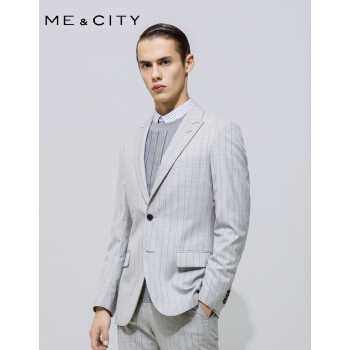 デパートの同じタイプのMECITY男2019春新品羊毛ファッションダブルカラーストライプビジネススーツ536400グレーグループ175/96 A