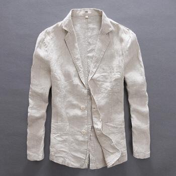 【新商品の特恵】さわやかな通気性のリネンスーツ男性の復古修身ビジネス正装コットン麻大サイズスーツメンズはコートのリネン色Sを少し詰めます。