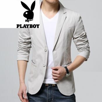 【春尚新】プレイボーイ春秋薄型スーツ男性用単品の上着青年はスーツの大柄なジャケットを2粒少し詰めました。おしゃれな白っぽいXLです。