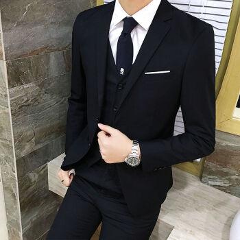 スーツスーツ男性韓国式修身三点セット青少年学生スーツ新郎結婚ドレス職業服黒スーツ+シャツ+ズボン4 XL(165-180斤)