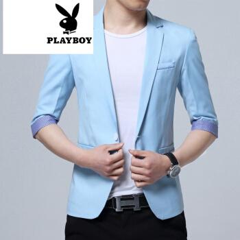 プレイボーイ2019夏には半袖スーツ男性七分袖スリムタイプ修身スーツ青年中袖単西外套天青XXXL(135-45斤着用)を着用します。