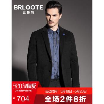 Brloote/バルト純毛スーツ男性修身スーツ西秋冬ジャケット黒185/104 A