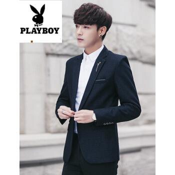 プレイボーイスーツ男性2018新品青年男性職業服洋服韓国式少しファッション修身新郎結婚小さいスーツ青少年外套黒XXL