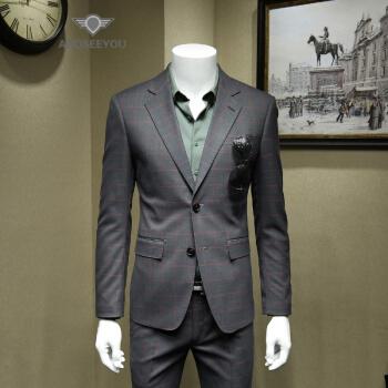 ANDSEEYOUファッションブランドの格好いいチェックの男性はスーツを少し詰めます。2019修身韓式ファッションおしゃれ英倫風単西ビジネスは小柄スーツ灰色52