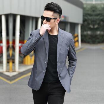スーツ男性はスーツを少し詰めて、春夏の薄手のジャケットを修理します。2019新品の青年、韓国式ファッションの高品質1017灰色の165/S