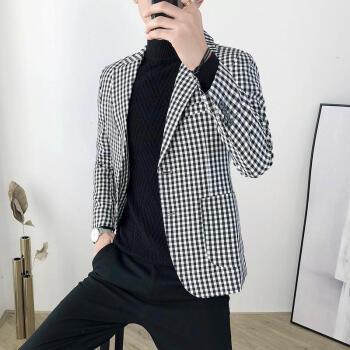 シエルヴィーナ2019新品の男性コート千鳥格の小さい洋服のデザイナーが身を修める韓式の小さい格子のスーツは上着と白黒の格子の2 XLを少し詰めます。