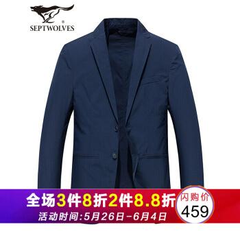 七匹のオカミ2019春新品洋服男性スーツ男性スーツ修身メンズ4870蔵青180/96 A/XL