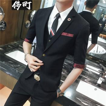 赘沢町夏韩式中袖スーツ男性修身小スーツ七分袖三点セットのヘアスタイリスト礼服ファッションファッション黒(中袖スーツ+ベスト+九分ズボン)XL