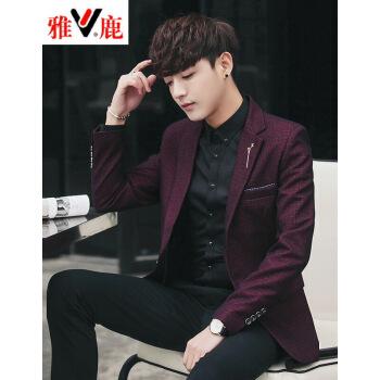 雅鹿2019新品スーツ男性純色単西青年スーツ男性コート大サイズXZワインレッド2 XL