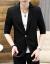 【男神洋服】2019夏の韓国式修身純色の小さいスーツの中で袖七分袖のスーツは薄い青色の2 XL/130-140斤を提案します。