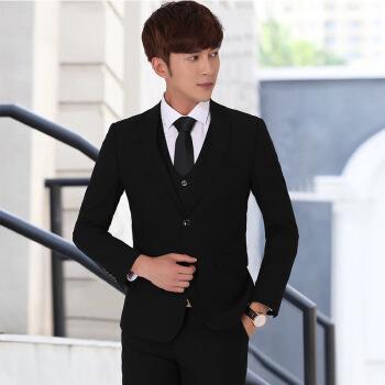 早春新品男性スーツ修身韓国式スーツ男性スーツビジネス結婚スーツ学生職業スーツ黒(2粒の純色付き)コート+ズボン+シャツ+ネクタイ180/XL