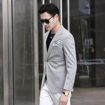 羅蒙同項秋冬新作スーツ男性修身韓国式ブルービジネススーツ青年上着単西ジャケット潮淡灰色L