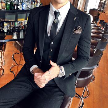 (新品)通勤結婚服のスーツ男性イギリス風韓国式修身スーツビジネス略装新郎結婚ドレスのメーズコートファッション黒(スーツ+ズボン)+ネクタイXL
