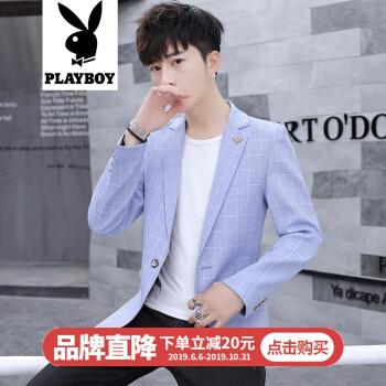 プレイボーイの青年の紳士の夏季のファッションの小さいスーツの韓式の修身の格子は少し灰色の単に西のオーバーの英倫のビジネスのスーツのファッションのホワイトカラーの出勤する小さいスーツのオーバーのYA青いLを詰めます。