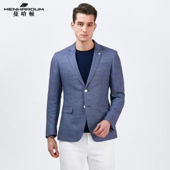 MENHARDUM/つるハートン男性修身スーツ青年ビジネス略装ジャケット2つのボタン西私服ブルー365 50