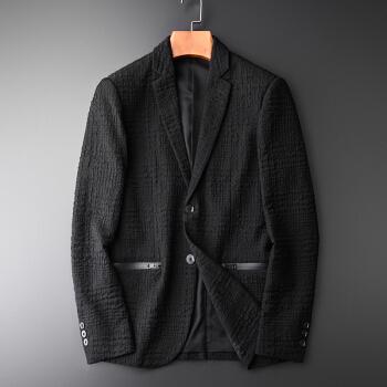 海のマスチフ2018冬の新品スーツ男性の色織の暗いしわの布地は小さいスーツの外套の男性の修身ファッションおしゃれの格好がいいです。西の上着の商品は黒い3 XL/190を支払います。