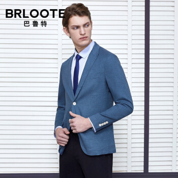 Brloote/バルト純麻スーツ男性薄金修身ビジネス略装スーツは西2019年秋にブルー175/96 Aを着用します。