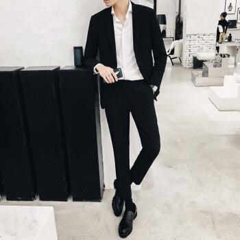京東随一青年2019春新品イギリス風スーツ男性スーツ青年韓国式修身スーツかっこいい学生黒(スーツ+ズボン+白いシャツ)M