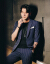 2019新品の夏の薄手の男性の結婚服はおしゃれでかっこいいです。7分袖の小さい洋服のファッションデザイナーです。韓国式修身ストライプ中袖スーツスーツは灰色です。(スーツ+九分ズボン)M