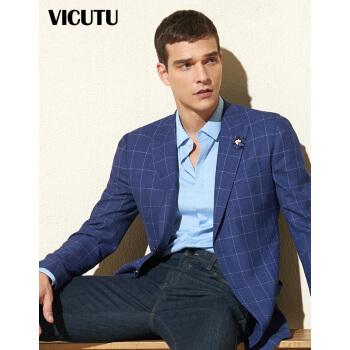 威可多VICUTUデパートと同じ男性スーツ快適ウールビジネス修身縞スーツVRES 8110532ブルー175/96 B