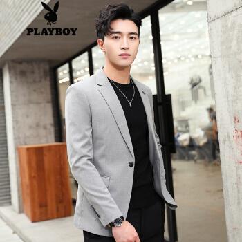 プレイボーイスーツ男性春季男性スーツビジネス修身韓国式青年かっこいいおしゃれスーツ男性ライトグレーM