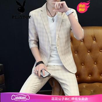 プレイボーイPLAYBOY 7分袖スーツ男性夏薄手モデル韩国式青年カッコイイ修身おしゃれ袖小さいスーツM 9902カーキ色XL