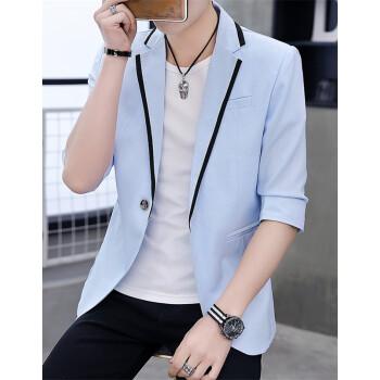 (京東優先)スーツ男性2019春夏新品かっこいいファッション韓国式青年修身小さいスーツ七分袖半袖上着おしゃれちょっと服メンズX 1939青いM