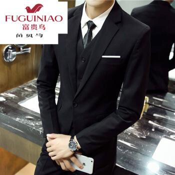 FGN/富貴鳥四季スーツ男性ビジネス服三点セット青年服通勤職業正装大学生服卒業服黒い上着+ズボン+シャツ+ベストはネクタイLをプレゼントします。