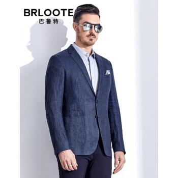 Brloote/バルトメンズ純亜麻便西男2019春夏薄型ファッション少しスーツ修身シングルスーツの外套ブルー175/96 A