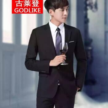 グラタンスーツ男性スーツ青年韓国式修身学生スーツ3点セット結婚正装礼服1セット男性スーツ3点セット服黒上着+ズボン+シャツ+ベスト+ネクタイベルト+靴L