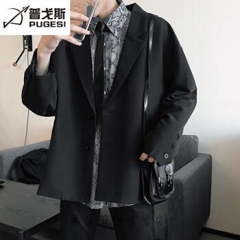 2019春新品の香港風ブレザー男性韓国式ゆったりレトロスーツ学生服単西上着潮黒XL