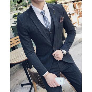 富貴鳥スーツ男性2019新品男性スーツビジネス略装紳士職業スーツ新郎伴郎礼服ビッグサイズスーツ3点セットSJT 56ダークグレー3 XL