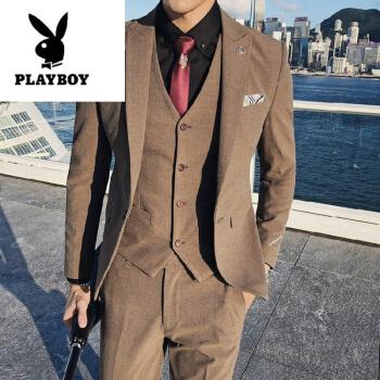 プレイボーイ(PLAYBOY)スーツ男性2019秋新品香港旅拍高品質紳士スーツメンズセット三点セット男性スーツカーキ色M