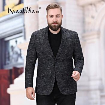 KRAALLDAは軽奢なブランドの新商品の大きいサイズの男性のスーツの上着のおしゃれの格好が良くて太って増大します。青年のお父さんは英倫の風を詰めて単に西のコーヒー色の190を少し詰めます。