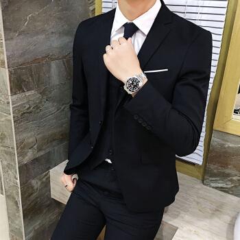 【スーツ+パンツ+腕時計】2019春メンズスーツ男性スーツスーツ男性スーツ1黒セット+腕時計M-105斤以下