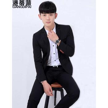 香港のティピネンの小さいスーツの男性の2019年の春秋の季節は新品の韓国式の身を修めて単に西の青春を少し詰めてファッション的なビジネスの小さいスーツの男性のオーバーの黒色Mを少し詰めます。