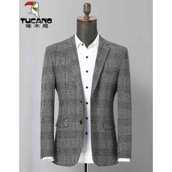 キツツキスーツ男性2019秋冬新品男性ビジネス少し二つのチェックスーツ男性韓国式修身ファッション単西ジャケット浅灰色M/170