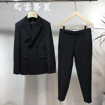 新商品は韓国式男性の英倫ファッション男性のスーツを少しセットして、ダブルボタンの小さいスーツのスーツを修理します。